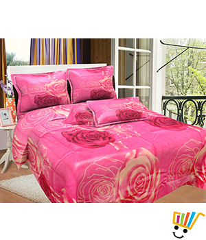 Bombay Dyeing MistyRose Double Bed Sheet Set - Pink