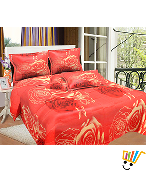 Bombay Dyeing MistyRose Double Bed Sheet Set - Misty Red