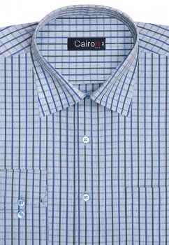 Cairon Blue Check Executive Formal Shirt Sf-B4373_A