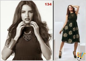 Fancy black georgette kurti with embroidery Work-134MSMME