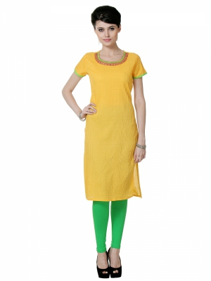 Riti Riwaz Yellow Printed Kurti VARSS15111-yellow