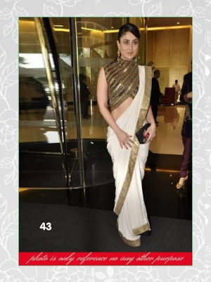 Indian Beautiful Bollywood Replica Kareena Kapoor White Cotton Saree MSM-43