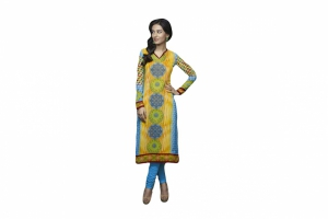 SIXMETER Yellow Georgette Fancy Kurti GUL-KUR-2007