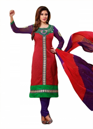 SIXMETER Red Cotton Fancy Salwar Suit KHW-SOF-1010