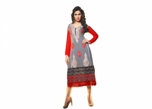 SIXMETER Gray Georgette Fancy Kurti MAR-KUR-1013