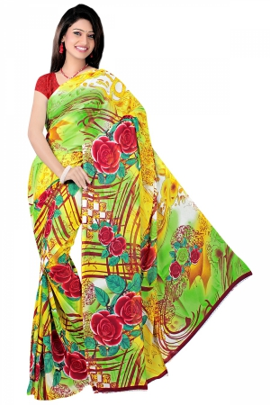 SIXMETER Green Georgette Casual Saree SIX-SAG-08A