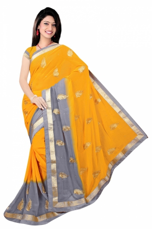 SIXMETER Yellow And Grey Fancy Saree SIX-SS-5356A