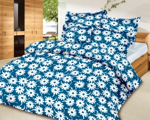 meSleep 100 Percent Cotton Blue Double Bed sheet set 843-A