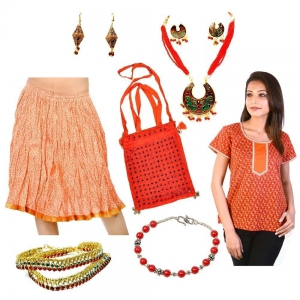 Shoulder Bag Designer Brass Jewellery And Skirt Kurtis 7 Pc. Combo Set DL4COMB272