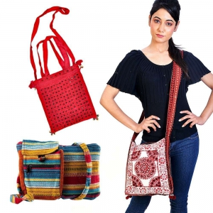 Rajasthani Designer And Colorful Cotton Shoulder Bag Three Piece Combo DL4COMB273