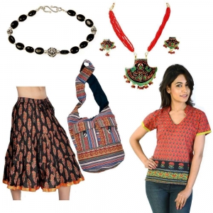 Shoulder Bag Artistic Jewellery Pair And Designer Kurti Skirt Combo Set DL4COMB280