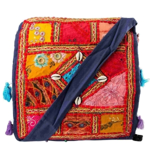 Colourful Embroidered Mirror Work Art Exclusive Cotton Shoulder Bag DLI4BAG110