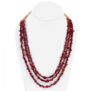 Ethnic 3 Liner Dark Maroon Semiprecious Real Garnet Stone Necklace DLI5SNS203