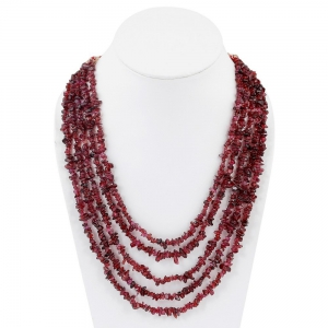 Fashionable Five Line Dark Maroon Semiprecious Garnet Sarafa Necklace DLI5SNS204
