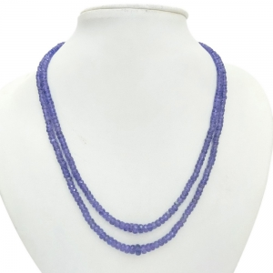 Dual Line Royal Blue 120 Carat Semiprecious Tanzanite Stones Necklace DLI5SNS212