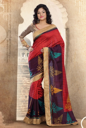 Riti Riwaz Red and Purple Bhagalpuri silk Printed saree with unstitched blouse RPS6203A