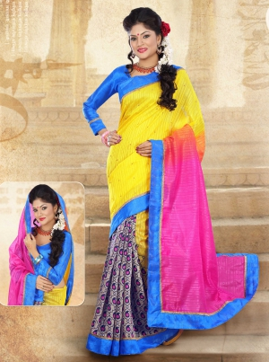 Riti Riwaz Yellow and Pink Chapa Silk Printed saree with unstitched blouse RPS6209A