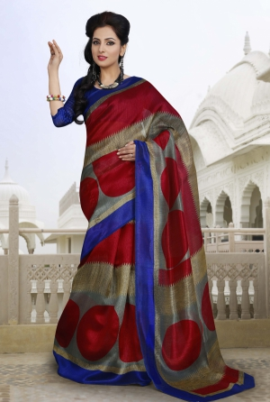 Riti Riwaz Beige and Red Chapa silk Casual Saree with Unstitched Blouse VRS6307A
