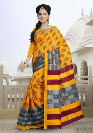 Riti Riwaz Yellow and Gray Bhagalpuri Casual Saree with Unstitched Blouse VRS6308B