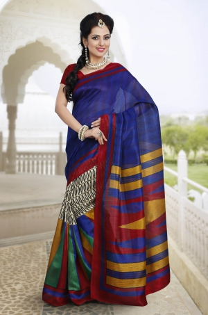 Riti Riwaz Blue and Beige Chapa silk Casual Saree with Unstitched Blouse VRS6310A
