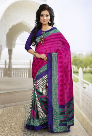 Riti Riwaz Pink Chapa silk Casual Saree with Unstitched Blouse VRS6312A