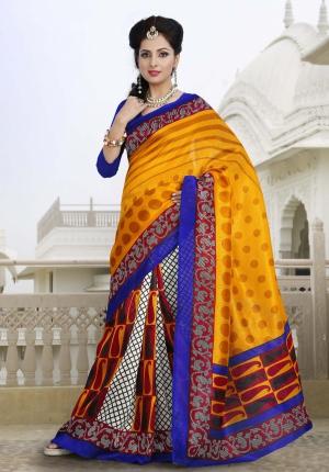 Riti Riwaz Yellow and Blue Chapa silk Casual Saree with Unstitched Blouse VRS6312B