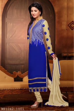 Whatshop Hina Khan Blue Designer Long Straight Cut Salwar Suit WS1042-1001