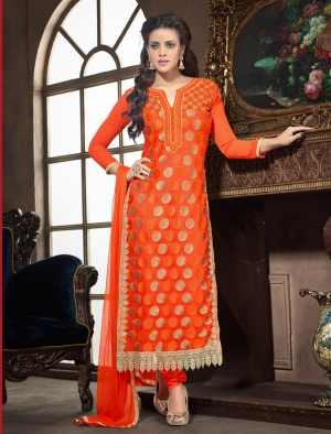 Whatshop New Arrival Long Orange Embroidered Straight Suit WS1044-801