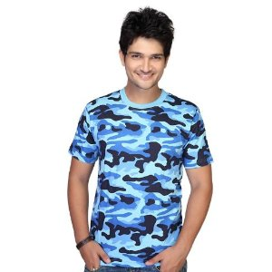 Clifton Men Army Printed Crew Neck T-Shirt - Blue