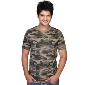 Clifton Men Army Printed Crew Neck T-Shirt - Beige