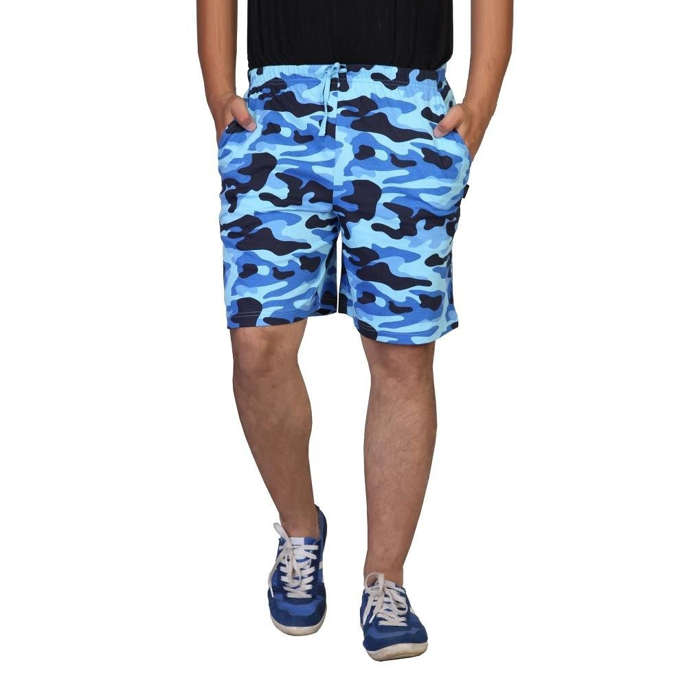 Clifton Men Army Printed Shorts  - Blue