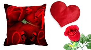 meSleep Rose Cushion Cover with Heart Cushion And Beautiful Rose cdhr-25-01