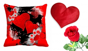meSleep Heart Cushion Cover with Heart Cushion And Beautiful Rose cdhr-25-09