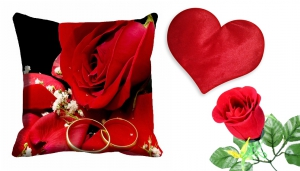 meSleep Rose Cushion Cover with Heart Cushion And Beautiful Rose cdhr-25-18