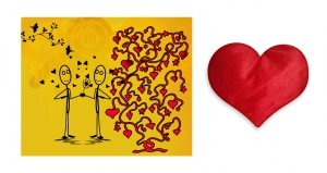 Canvas painting without frame and Valentine Heart Cushion - Couples pc-vl-02-HF