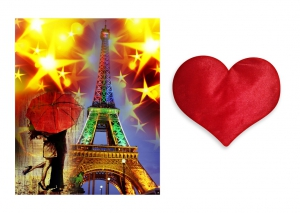 Canvas painting without frame and Valentine Heart Cushion - Eiffel Tower pc-vl-03-HF