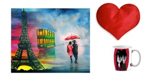 Canvas painting without frame and Valentine Heart Cushion and mug - Couple pc-vl-07-70vHF