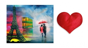 Canvas painting without frame and Valentine Heart Cushion - Couples pc-vl-07-HF
