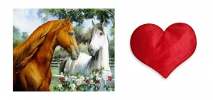 Canvas painting without frame and Valentine Heart Cushion - Beautiful Horse pc-vl-10-HF