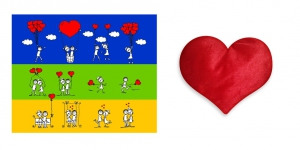 Canvas painting without frame and Valentine Heart Cushion - Valentine Heart Ballon Art pc-vl-11-HF