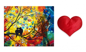 Canvas painting without frame and Valentine Heart Cushion - Beaultiful Sparrow Art pc-vl-14-HF