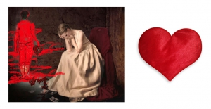Canvas painting without frame and Valentine Heart Cushion - Sad Girl pc-vl-18-HF