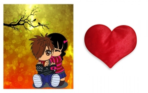 Canvas painting without frame and Valentine Heart Cushion - Couples Art pc-vl-22-HF