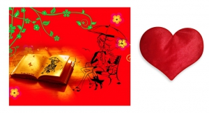 Canvas painting without frame and Valentine Heart Cushion - True love Story pc-vl-28-HF