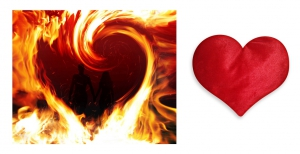 Canvas painting without frame and Valentine Heart Cushion - Fire Valentine Heart pc-vl-29-HF