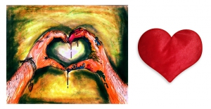 Canvas painting without frame and Valentine Heart Cushion - Abstract  pc-vl-30-HF