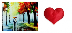 Canvas painting without frame and Valentine Heart Cushion - Couples Art pc-vl-31-HF