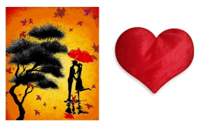 Canvas painting without frame and Valentine Heart Cushion - Couples pc-vl-32-HF