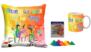 Holi Cushion Cover Mug-Combo hl08-m8