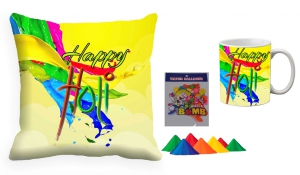 Holi Cushion Cover Mug-Combo hl10-m10